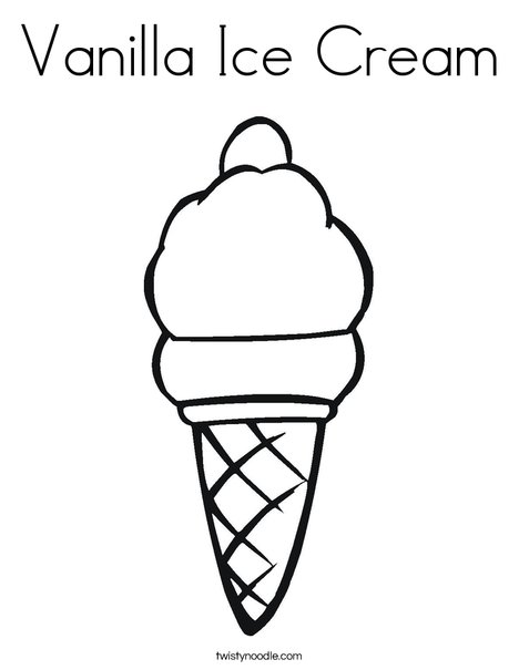 Vanilla Ice Cream Coloring Page - Twisty Noodle