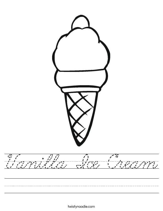 Vanilla Ice Cream Worksheet