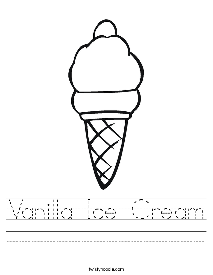Vanilla Ice Cream Worksheet