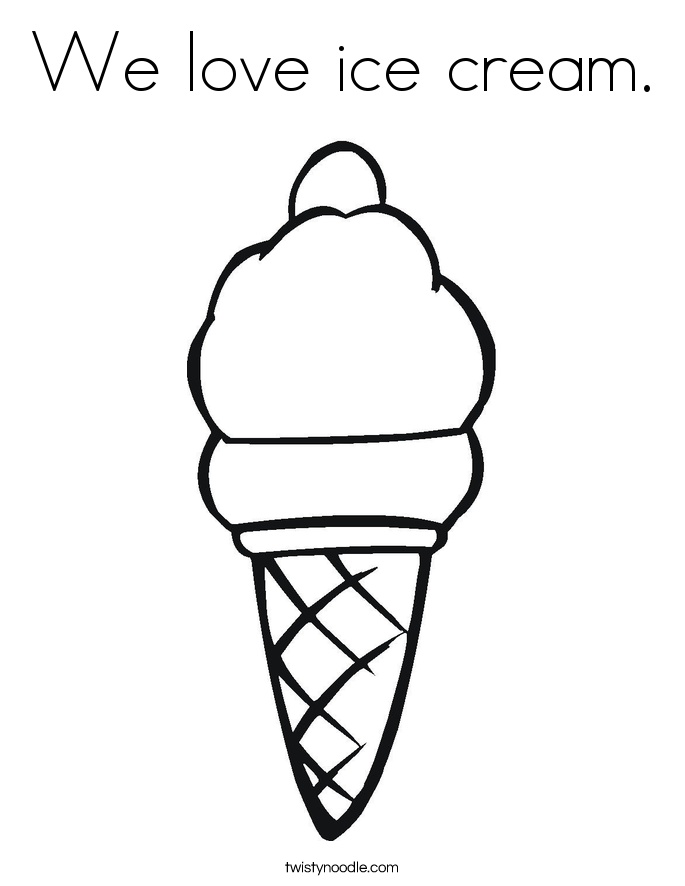 We love ice cream coloring page twisty noodle for We love you coloring pages