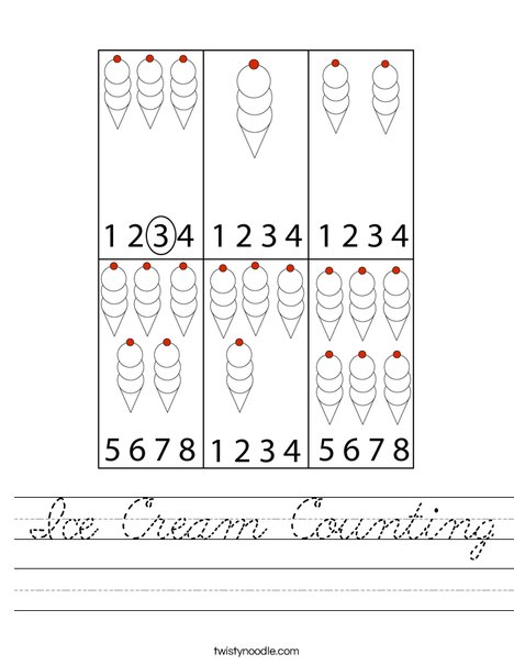Ice Cream Counting Worksheet