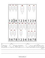 Ice Cream Counting Handwriting Sheet