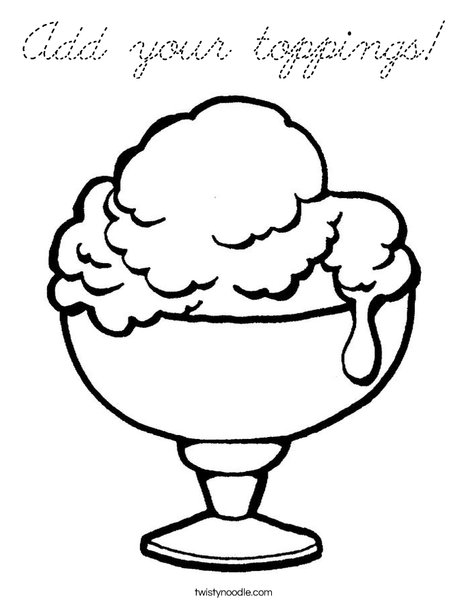 Ice Cream Cup Coloring Page
