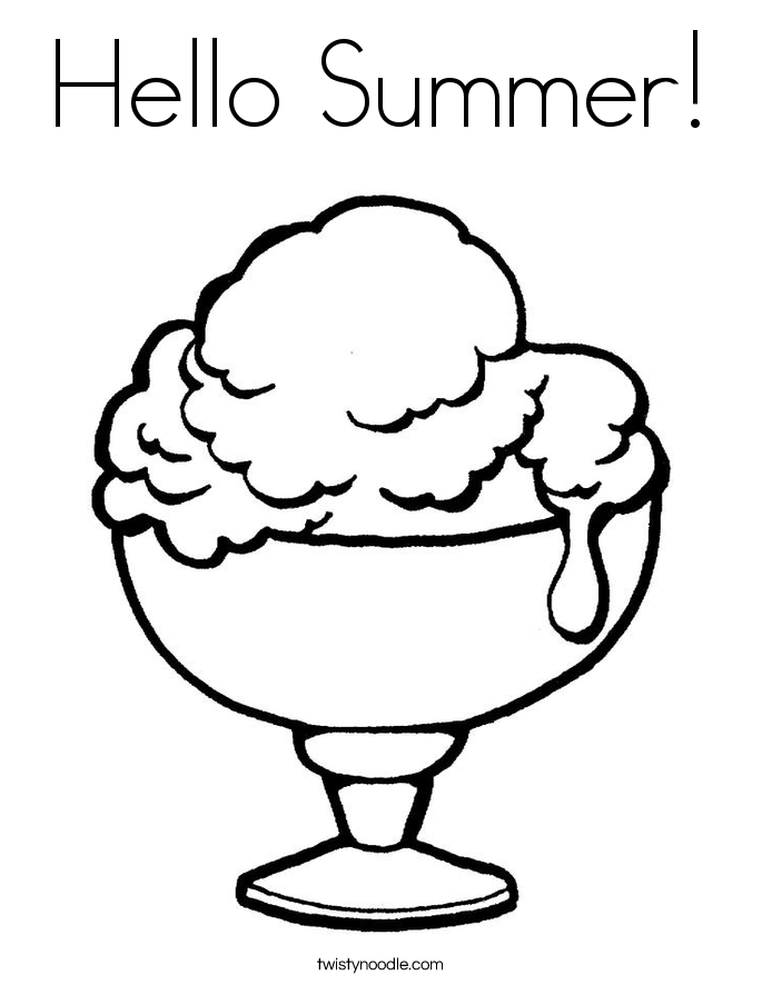 Hello Summer! Coloring Page.