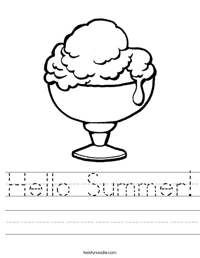Hello Summer Worksheet Twisty Noodle