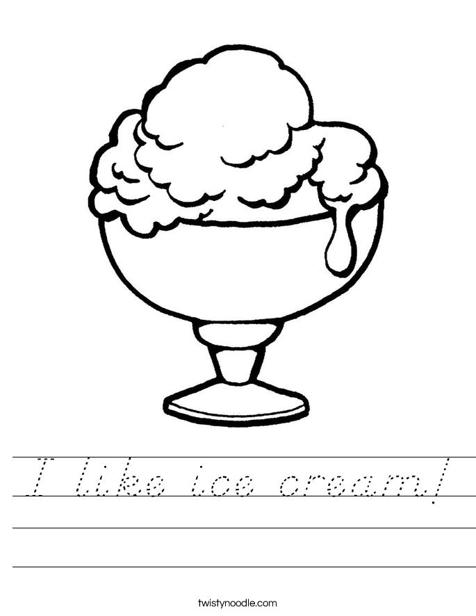 I like ice cream! Worksheet