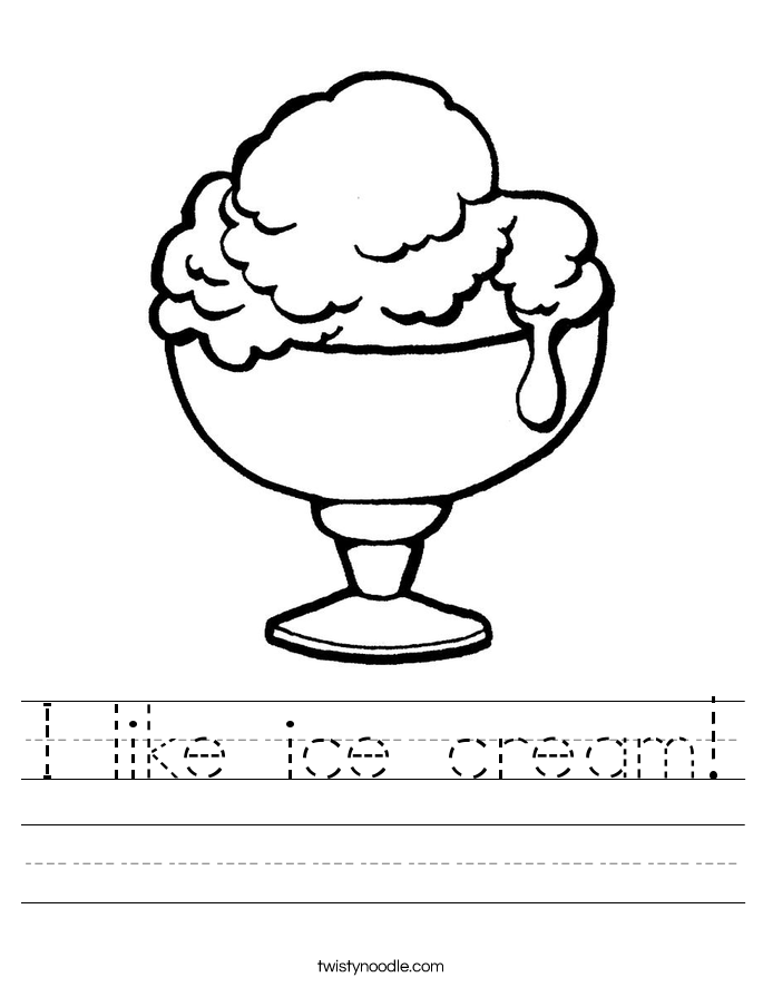 I like ice cream! Worksheet