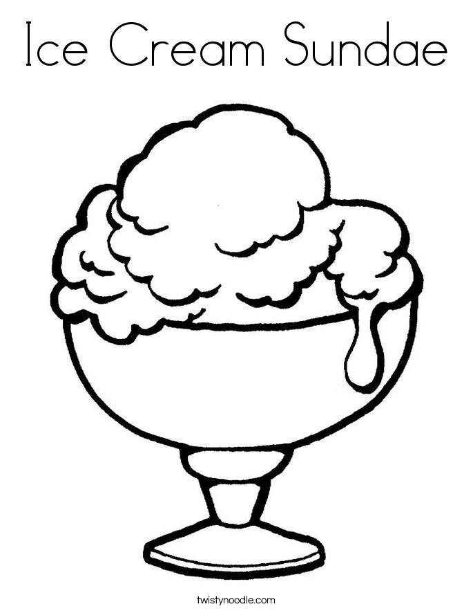 Ice Cream Sundae Coloring Page