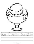 Ice Cream Sundae Handwriting Sheet