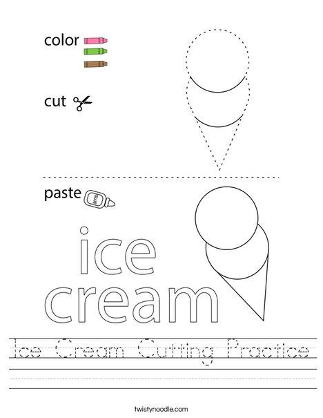 Ice Cream Cutting Practice Worksheet