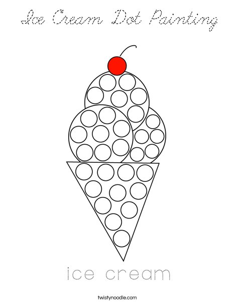Ice Cream Dot Painting Coloring Page