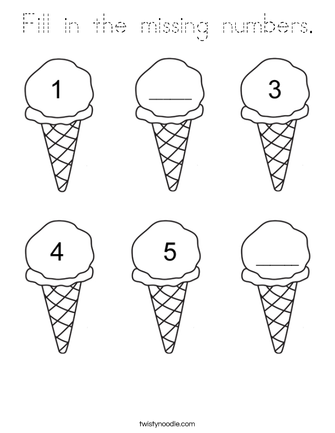 Fill in the missing numbers Coloring