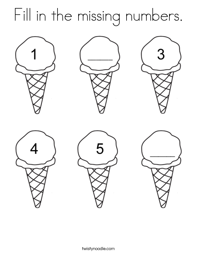 fill in the missing numbers coloring page - Coloring Page Ice Cream Cone