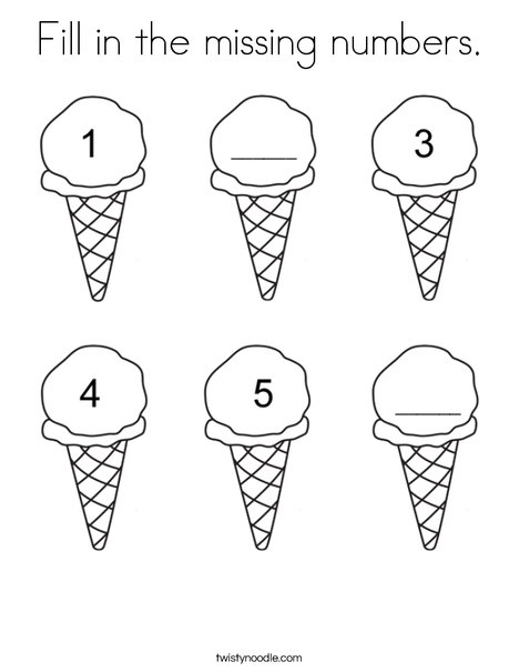 Ice cream fill in the missing number Coloring Page