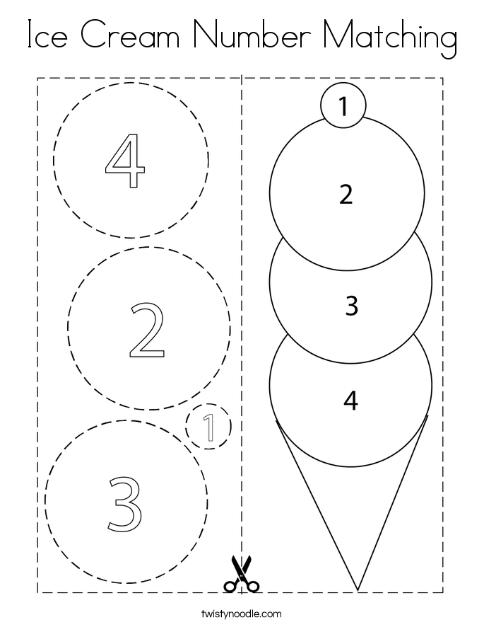Ice Cream Number Matching Coloring Page