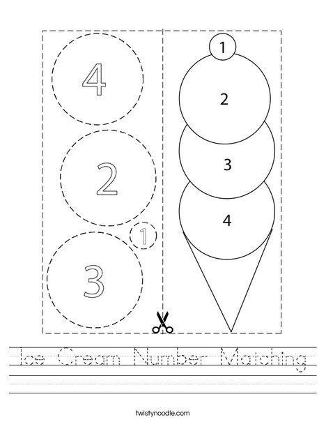 Ice Cream Number Matching Worksheet