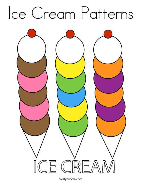 Ice Cream Patterns Coloring Page