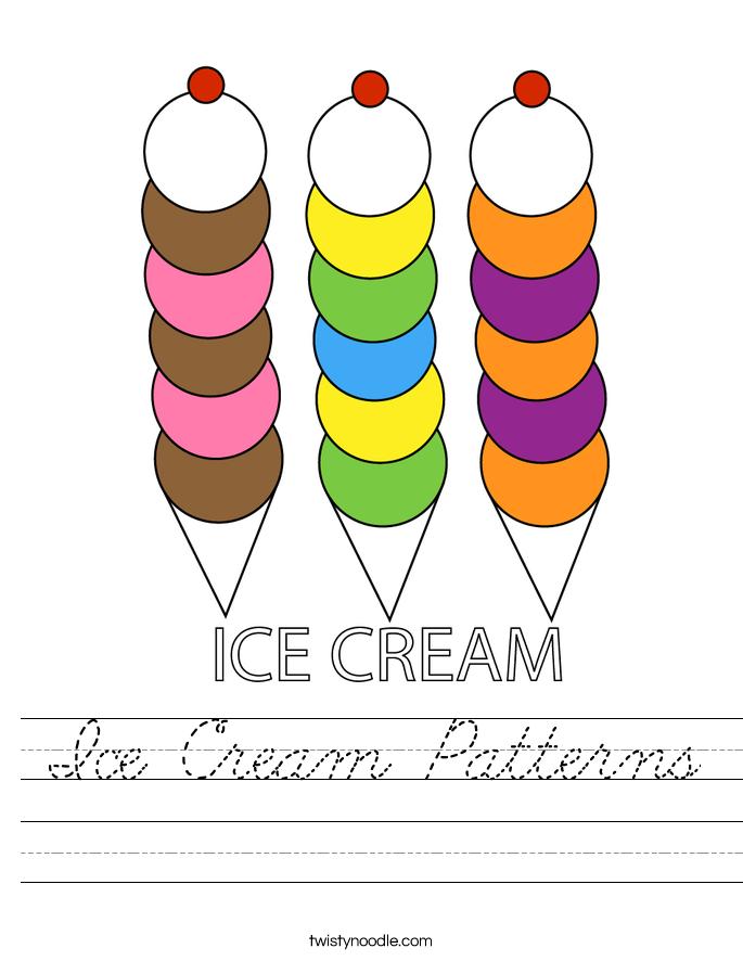 Ice Cream Patterns Worksheet