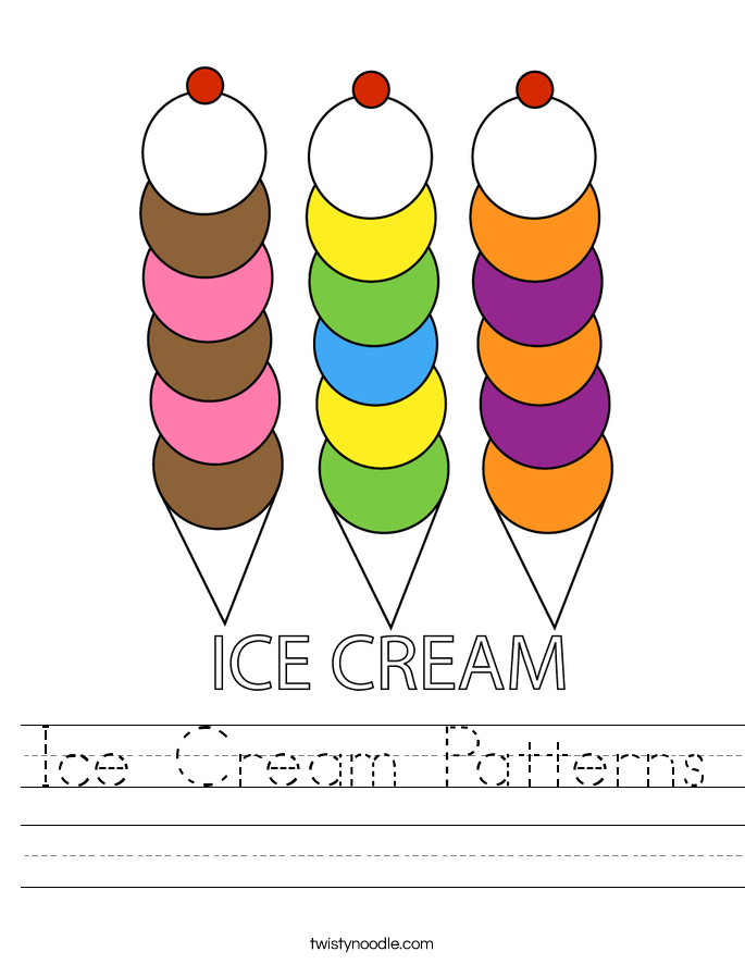 Ice Cream Patterns Worksheet