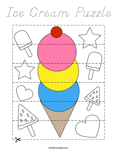 Ice Cream Puzzle Coloring Page