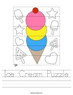 Ice Cream Puzzle Handwriting Sheet