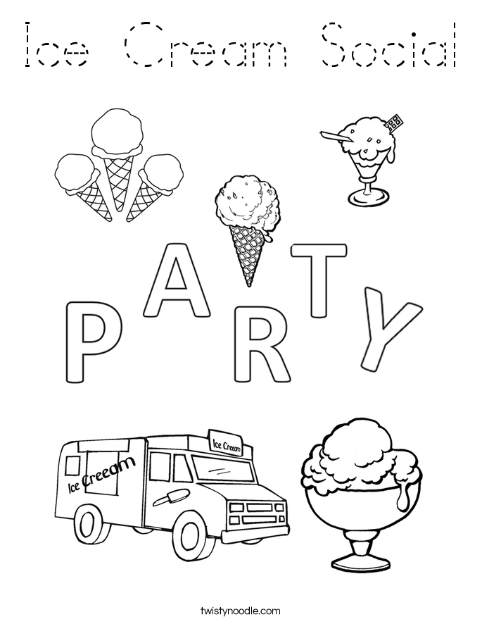 Ice Cream Social Coloring Page