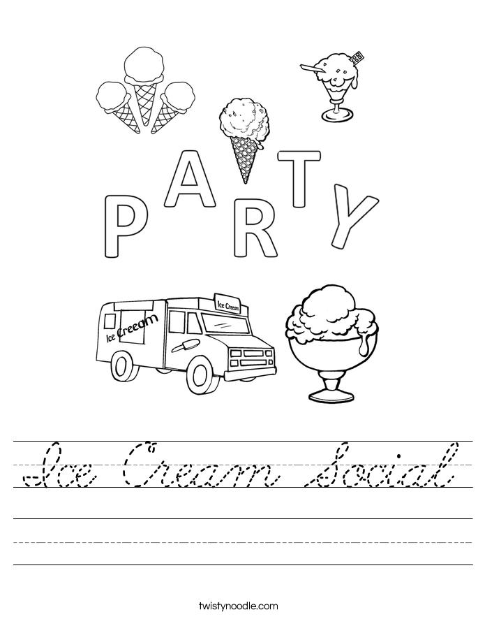 Ice Cream Social Worksheet