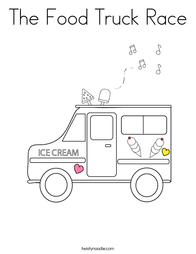 The Food Truck Race Coloring Page