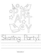 Skating Party Handwriting Sheet