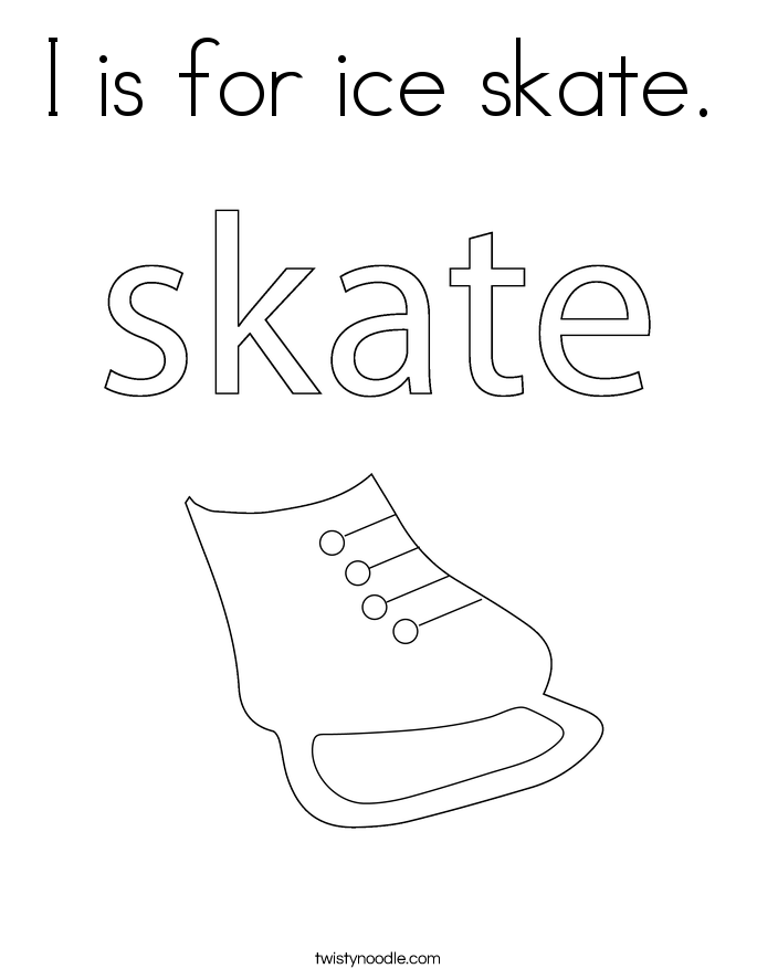 I is for ice skate. Coloring Page
