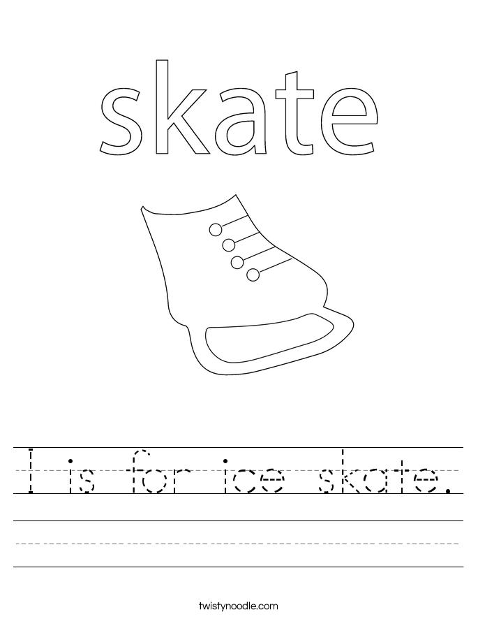 I is for ice skate. Worksheet