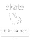 I is for ice skate. Worksheet