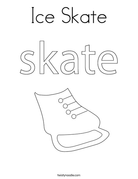 ice skating coloring pages Ice Skate Coloring Page   Twisty Noodle ice skating coloring pages