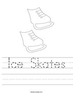 Ice Skates Handwriting Sheet