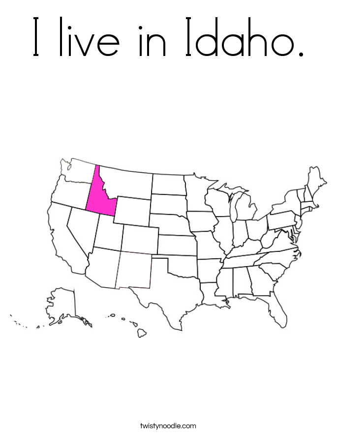 I live in Idaho. Coloring Page