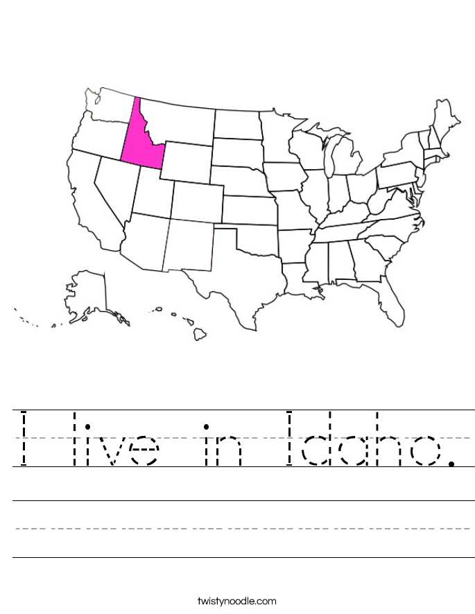 I live in Idaho. Worksheet