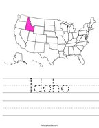 Idaho Handwriting Sheet