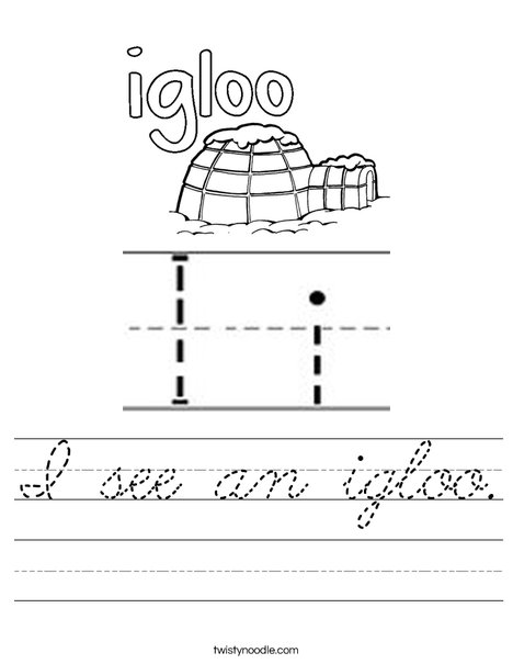 Igloo starts with I! Worksheet