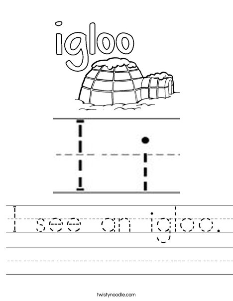 Igloo starts with I! Worksheet