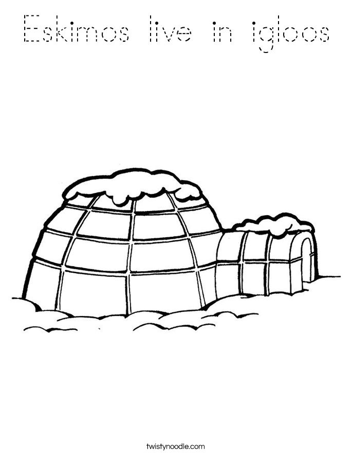 Eskimos live in igloos Coloring Page