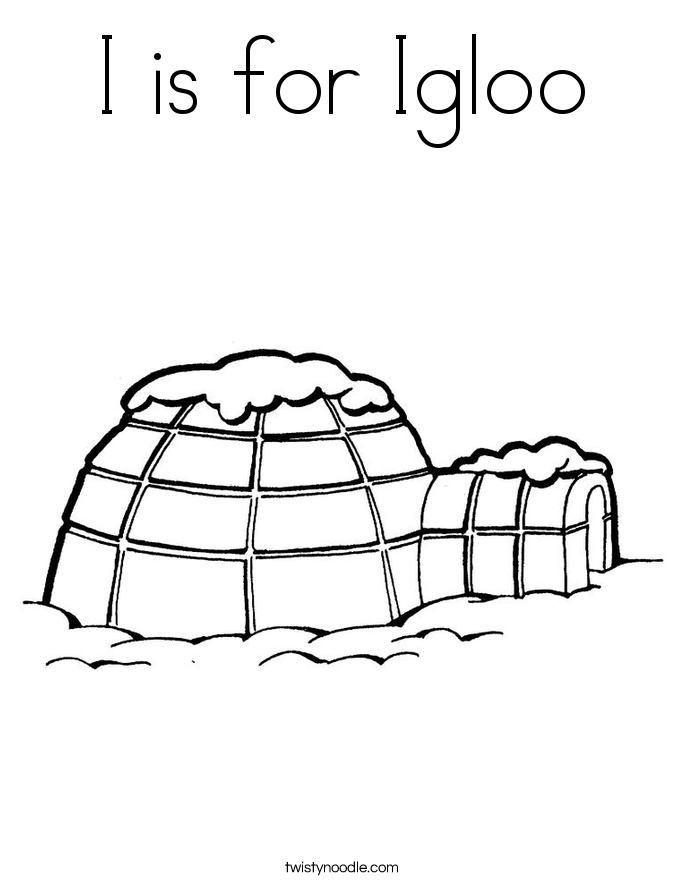 I is for Igloo Coloring Page
