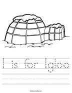 I is for Igloo Handwriting Sheet