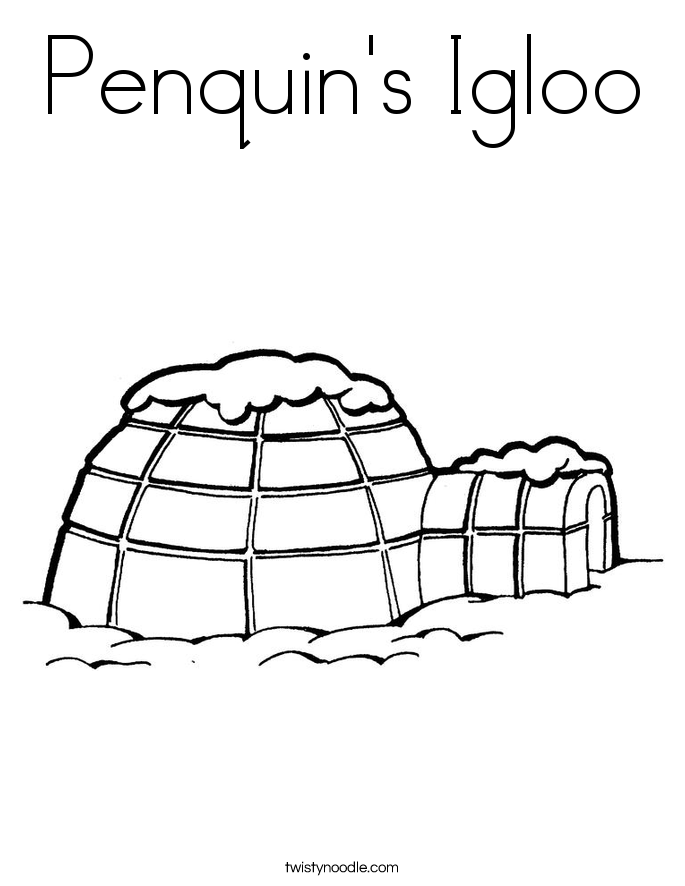 Penquin's Igloo Coloring Page