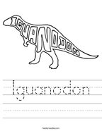Iguanodon Handwriting Sheet