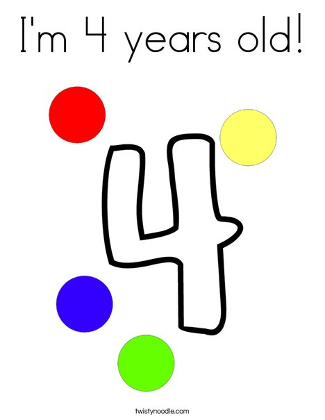 I'm 4 years old! Coloring Page