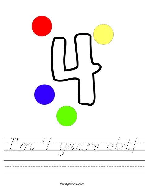 I'm 4 years old! Worksheet