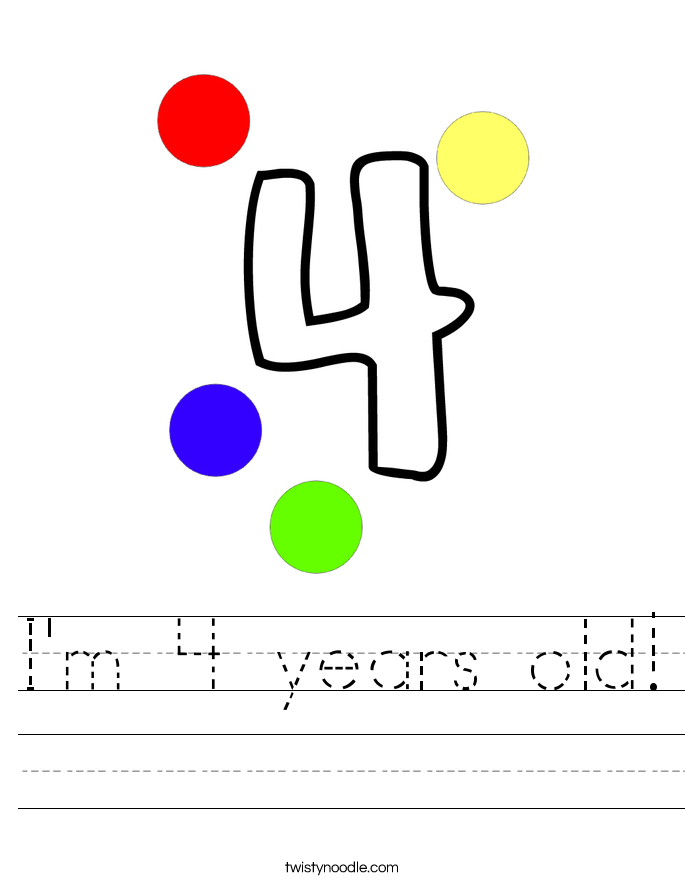 I'm 4 years old! Worksheet