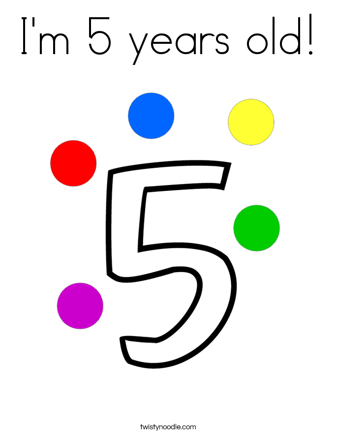 I'm 5 years old! Coloring Page