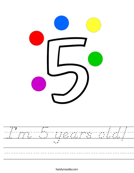 I'm 5 years old! Worksheet