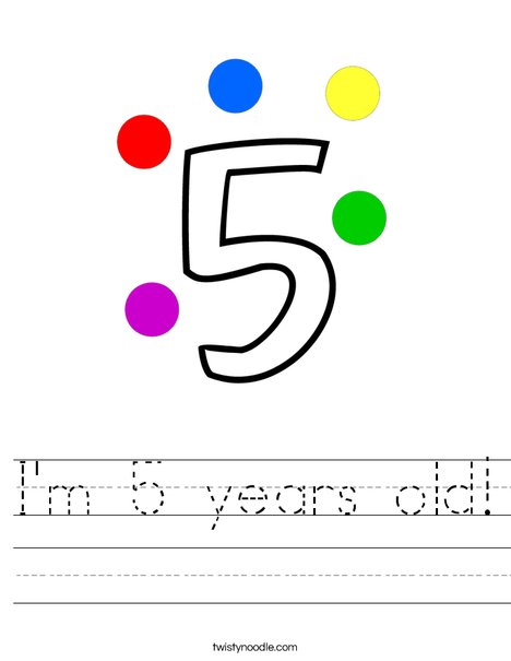 I'm 5 years old! Worksheet